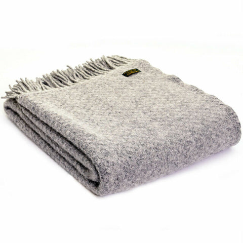 Brand new Tweedmill Grey Wafer Wool throw blanket
