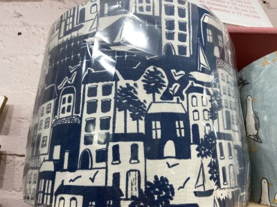 Handmade Coastal Town Exclusive Fabric Cream and Blue Lamp Shade