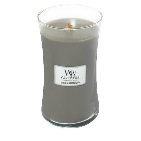 New Woodwick Large Cylinder Sand and Driftwood Candle