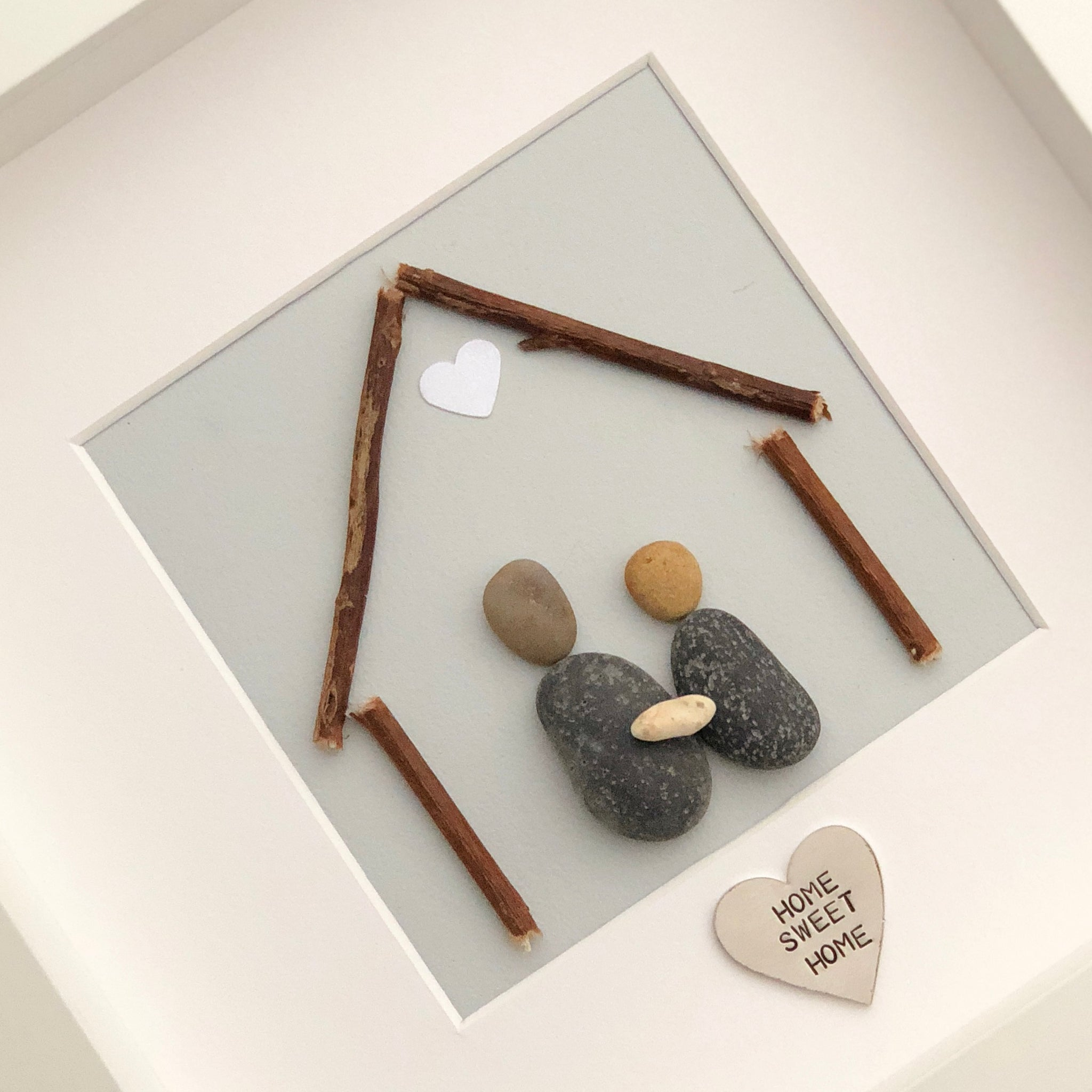 Medium handmade Home Sweet Home Pebble Picture