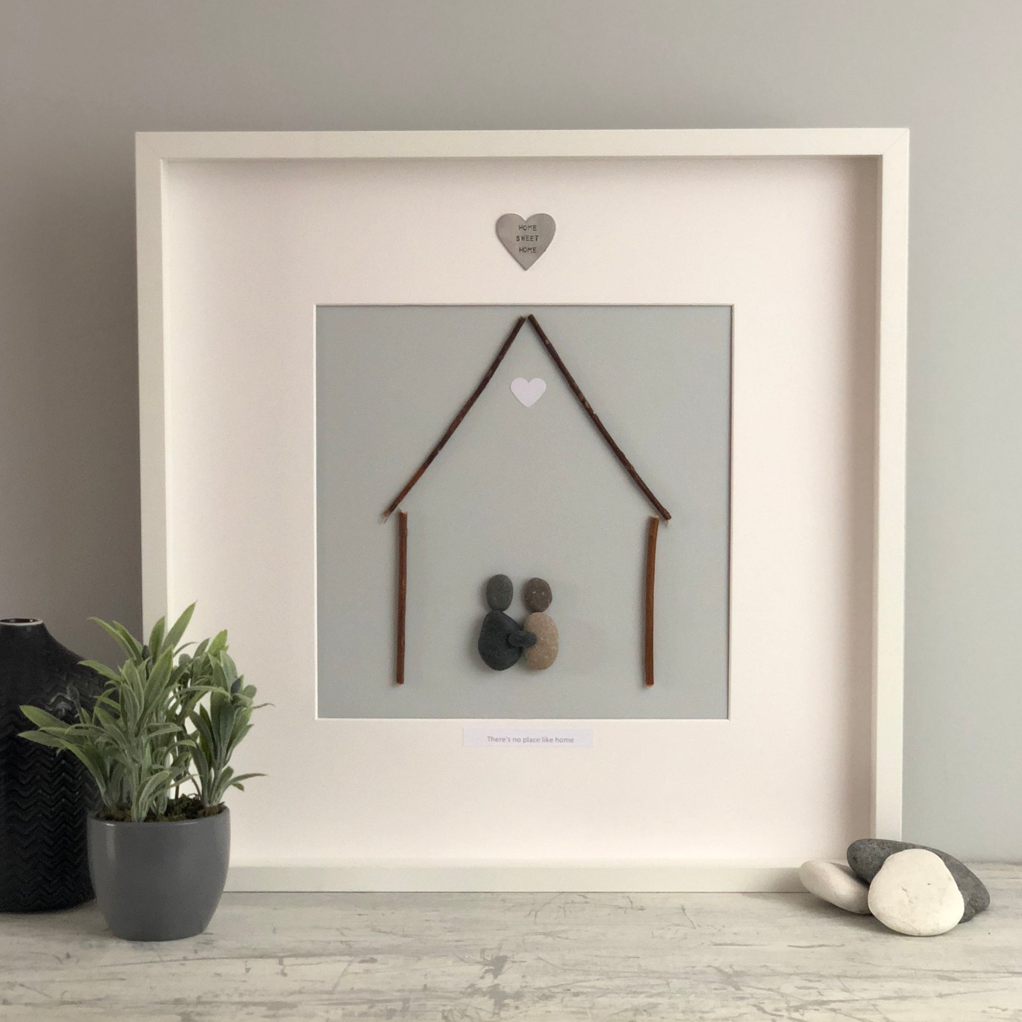 Large handmade Home Sweet Home Pebble Picture