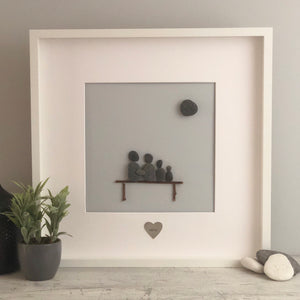 Large handmade Family Pebble Picture