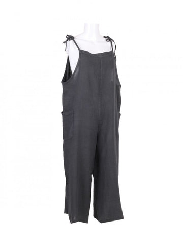 Italian One size linen dungarees tie top in charcoal