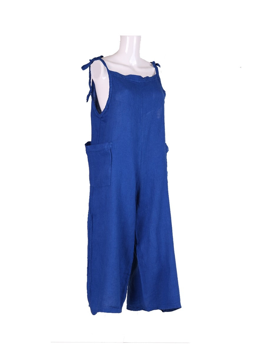 Italian One size linen dungarees tie top in royal blue