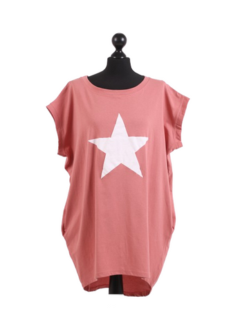 Coral jersey tshirt with white star top