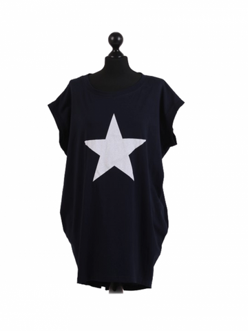 Navy ladies star tshirt