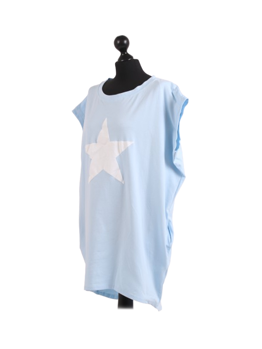 Pale Blue Star Baggy Cotton One Size Tshirt