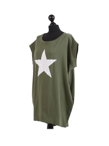Khaki with White Star Baggy Cotton One Size Tshirt