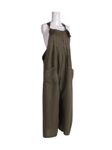 Made In Italy Pleated Front Linen Lagenlook Pabo Dungaree Khaki