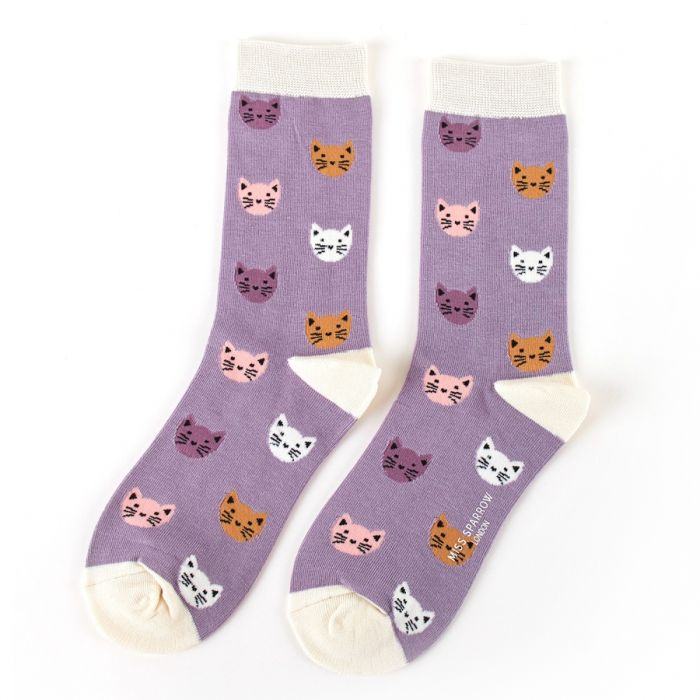 Ladies Kitty Lilac Bamboo Socks