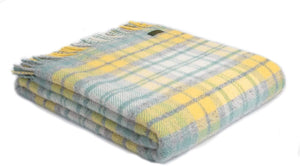 Brand new Tweedmill  lemon cottage check wool throw blanket