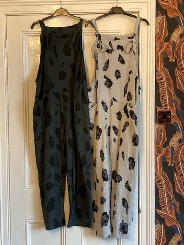 Pretty pale grey neutral jersey leopard dungarees one size