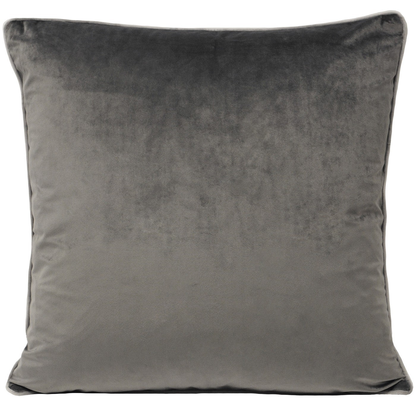 Luxury Velvet Square Cushion in Charcoal Grey with Dove coloured piping & feather fill pad.