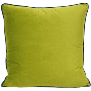 Large velvety smooth Bright Green trimmed cushion