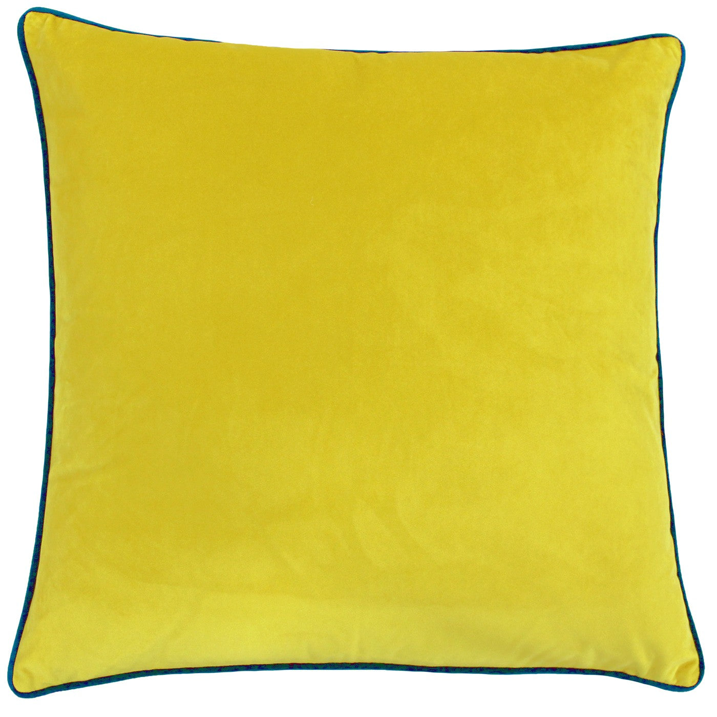 Large velvety smooth Yellow and Teal trimmed cushion