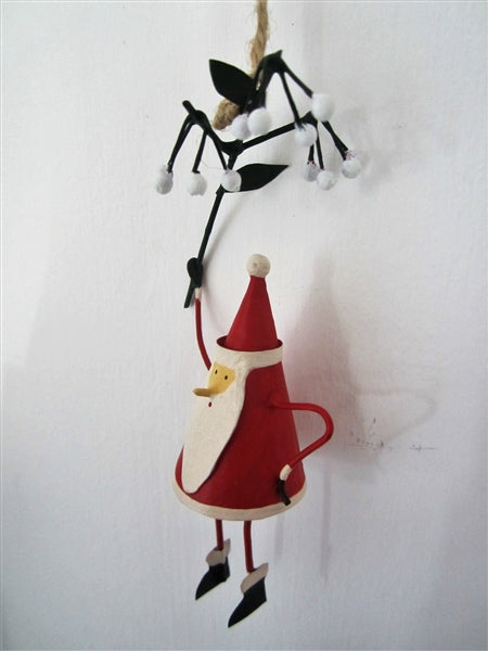 Handmade Metal Hanging Santa from a bug bunch of misteltoe