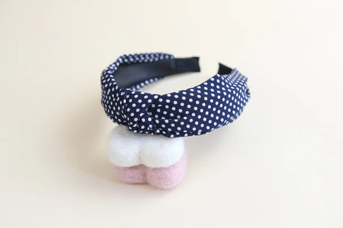 Navy and white spot patterned headband