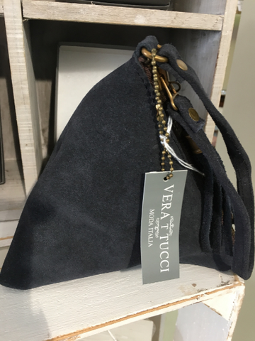 NEW Italian Suede Navy blue pyramid bag