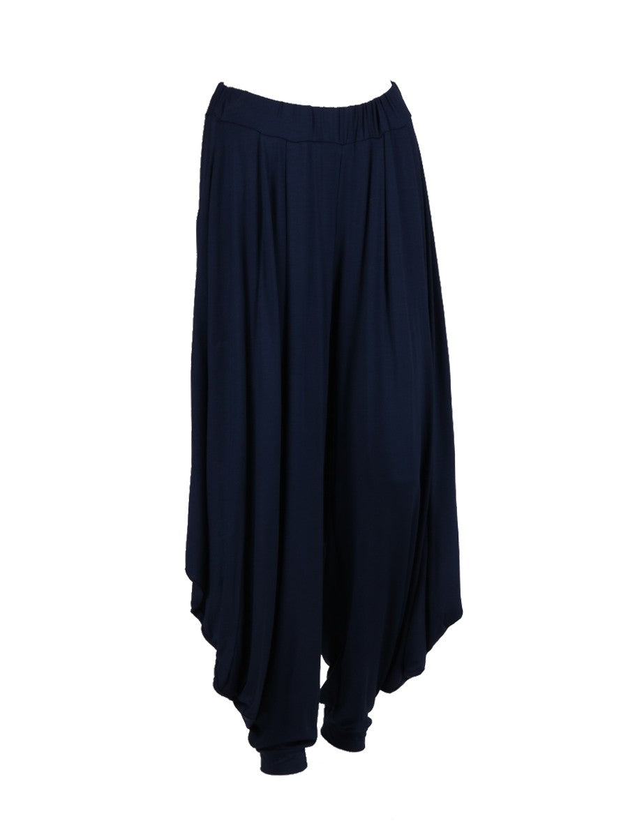 Italian Jersey One size navy harem trousers