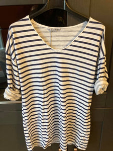 White with navy striped tshirt one size