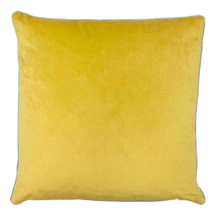 Large velvety smooth Ochre yellow with aqua piping cushion