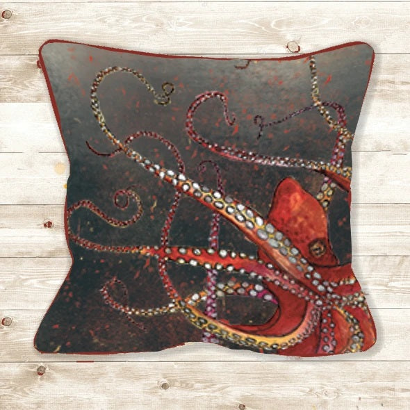 Handmade Octopus red and grey cushion