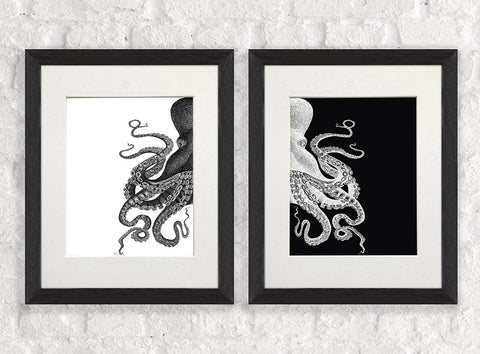 Pair of Octopus Pictures Mono chrome Framed