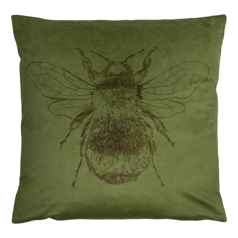 Olive green Bee cushion with patterned reverse.