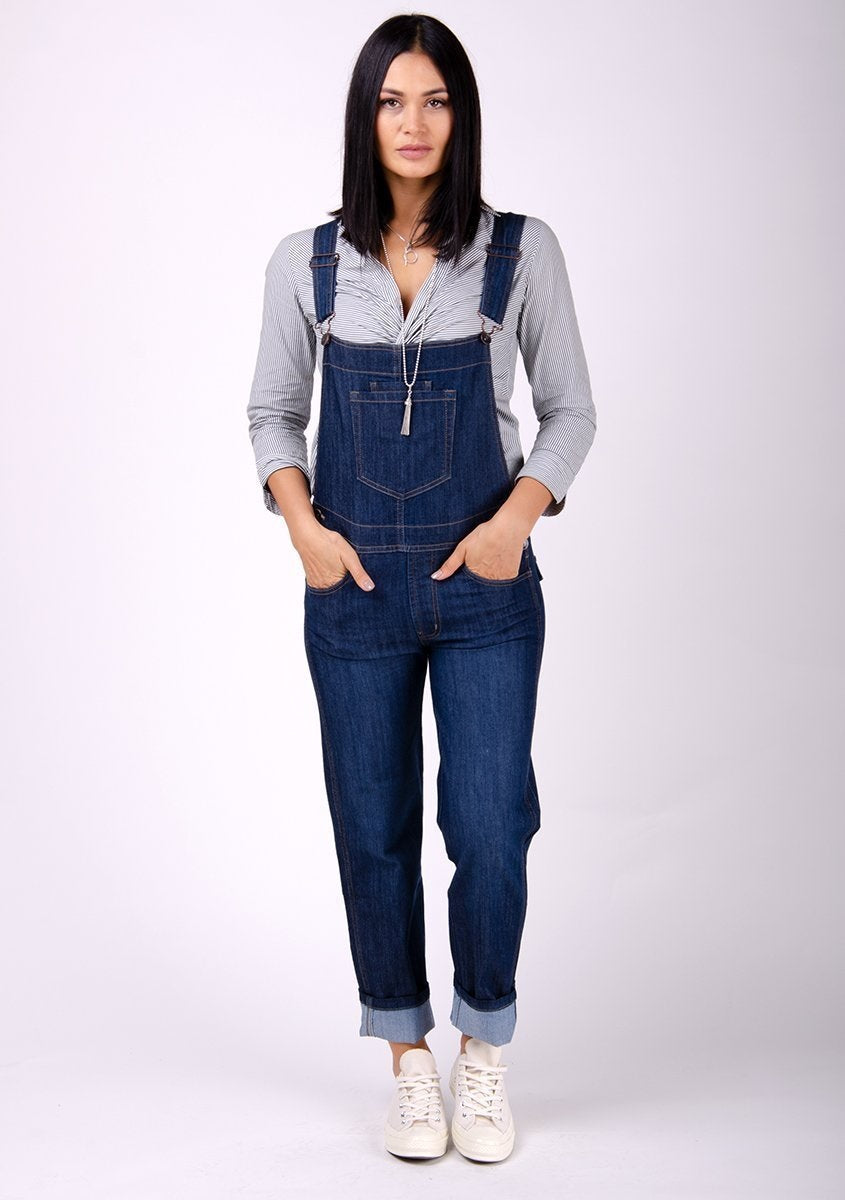 Ladies dark wash denim dungarees