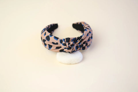 Beige blue and black leopard patterned headband