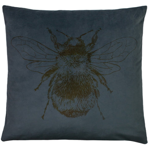 Petrol blue Bee cushion with patterned reverse.