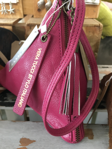 NEW Italian pretty pink leather pyramid bag