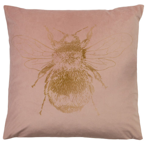 Pretty pale pink Bee cushion with patterned reverse.