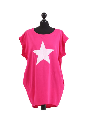 Bright pink tshirt with white star