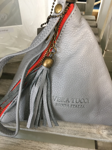 NEW Italian pretty pale grey leather pyramid bag