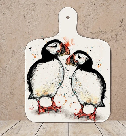 Handmade puffin chopping board