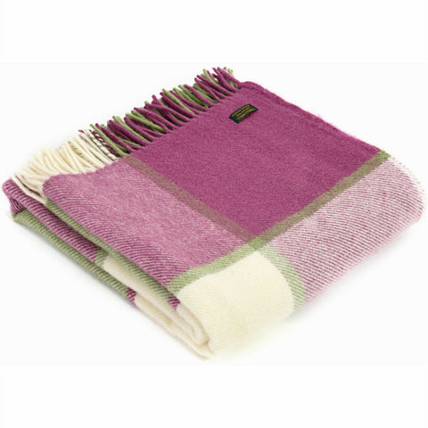Tweedmill raspberry and green Block Check Wool Blanket Throw