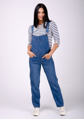 Ladies medium wash denim dungarees