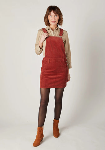 Burnt Red Corduroy Pinafore