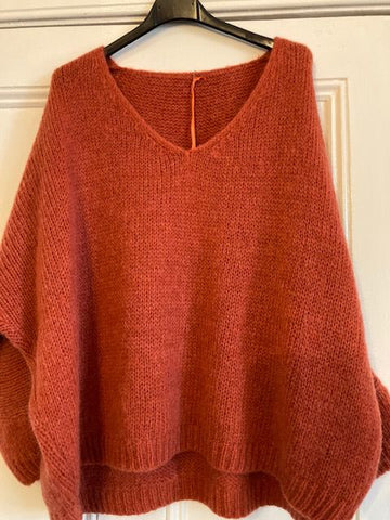 Italian One Size Mohair blend Rust jumper
