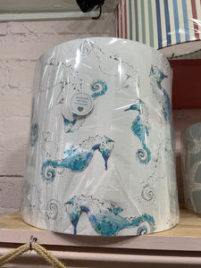 Handmade Exclusive Seahorse White and blue Lamp Shade