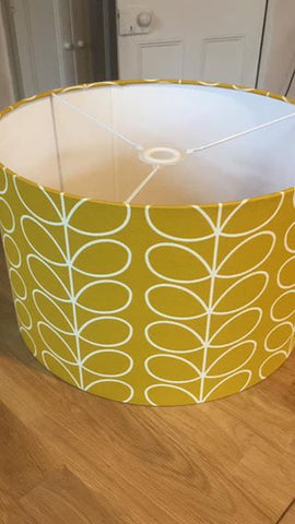 Handmade Orla Kiely large yellow light Shade