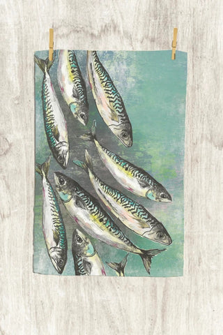 Green mackerel shoal tea towel handmade