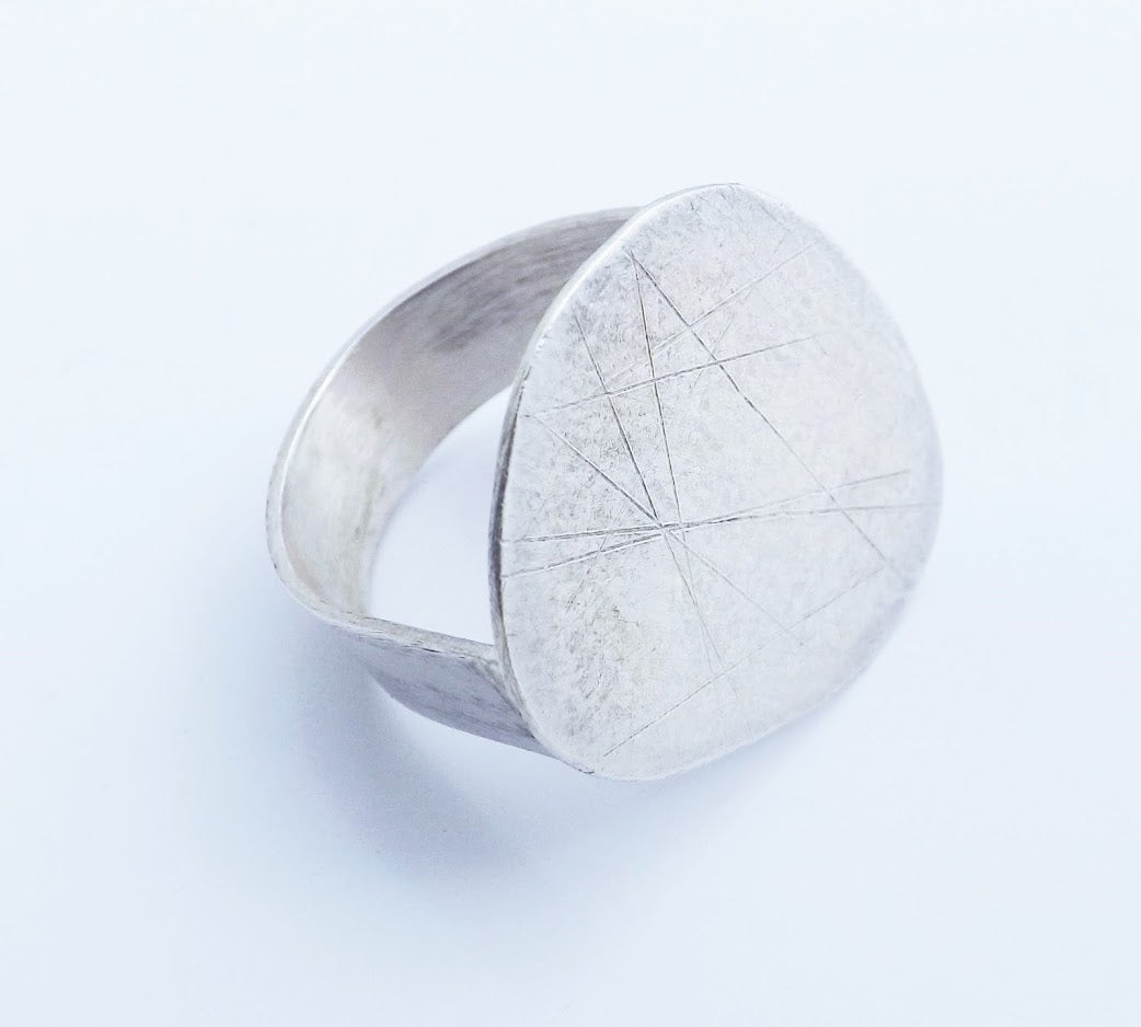 Handcrafted in Cornwall large silver pebble ring