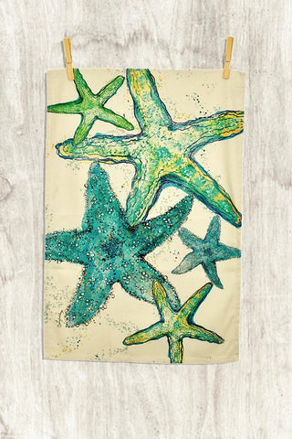 handmade green starfish tea towel