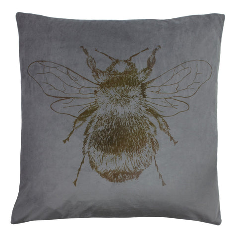 Steel grey Bee cushion with patterned reverse.