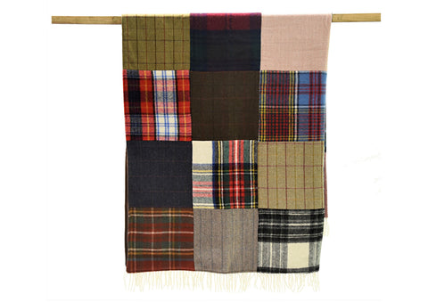 Tweedmill Large PATCHWORK Tweed Wool Blanket  Throw