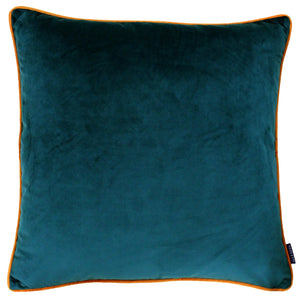 Large velvety smooth Teal and Orange trimmed cushion