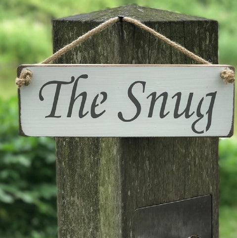 Handmade British wood The Snug white sign