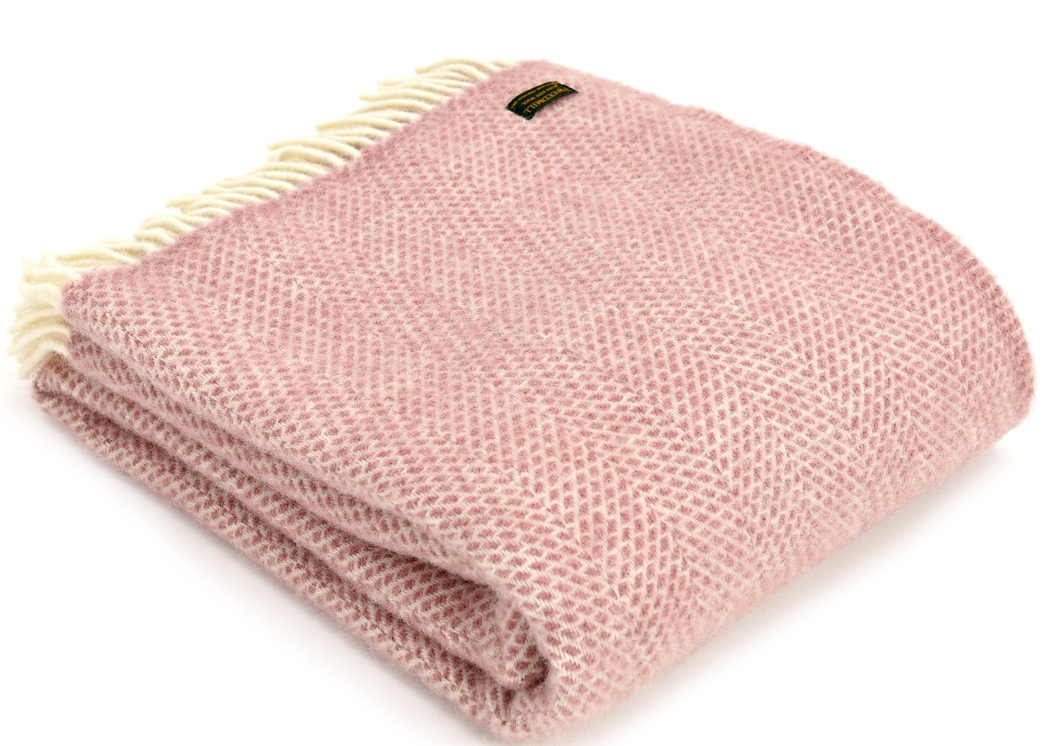 Tweedmill Pale Rose Pink Beehive Wool Blanket Throw